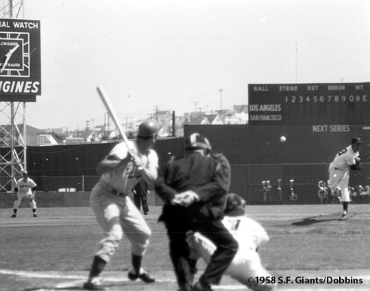 1958, san francisco giants, sf giants, photo, first pitch, ruben gomez, valamy thomas, gino cimoli