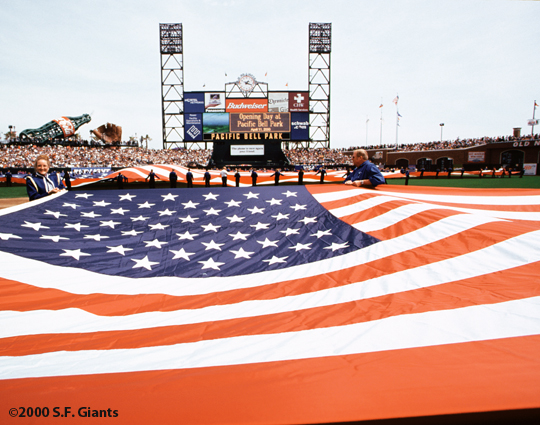 2000, sf giants, pacific bell park, sbc park, at&t park, san francisco giants, photo, opening day, fans
