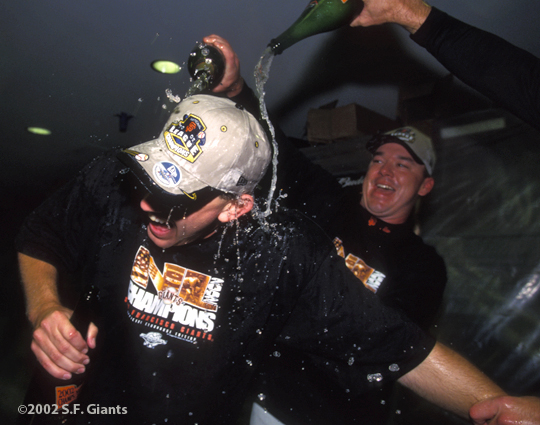 sf giants, san francisco giants, 2002, photo, NLCS, Kirk rueter, ryan jensen