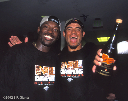 sf giants, san francisco giants, 2002, photo, NLCS, pedro feliz, manny aybar