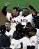 sf giants, san francisco giants, 2002, photo, NLCS, benito santiago, barry bonds