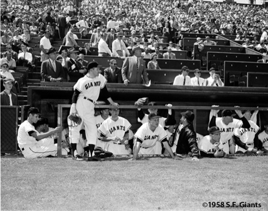seals stadium, opening day, bill rigney, team sf giants, san francisco giants, 1958, photo