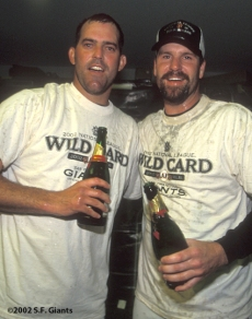 2002 Wild Card Clinch, sf giants, san francisco giants, photo, robb nen, tim worrell