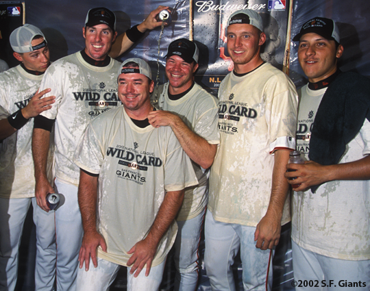 2002 Wild Card Clinch, sf giants, san francisco giants, photo, team, russ ortiz, joe nathan, chad zerbe,