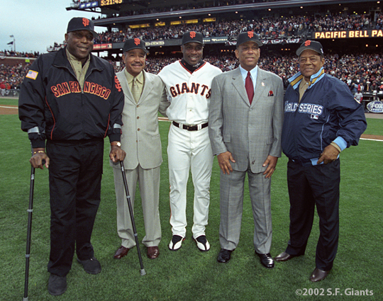 sf giantsd, 2002, world series, san francisco giants, photo, barry bonds, willie mccovey, juan marichal, orlando cepeda, willie Mays