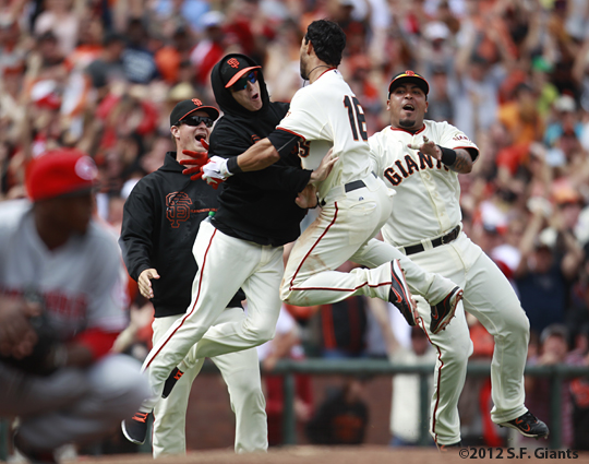 sf giants, san francisco giants, photo, 2012, angel pagan, tim lincecum, matt cain, hector sanchez