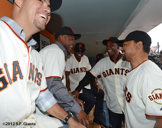 2002 team reunion, sf giants, san francisco giants, photo, 2012, Ramon Martinez, Calvin Murray, Reggie Sanders, Barry Bonds, Marvin Benard