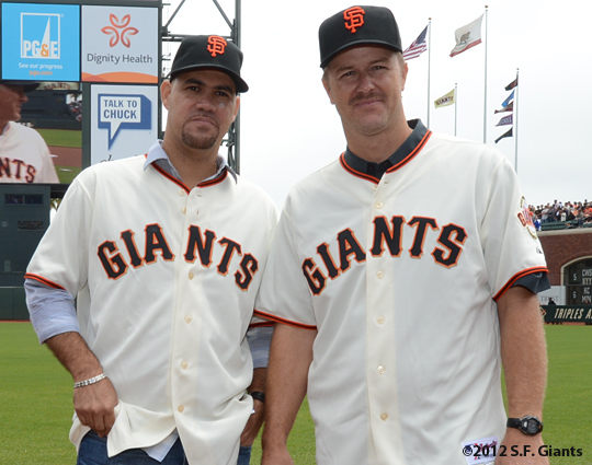 ramon martinez, jeff kent, 2002 team reunion, sf giants, san francisco giants, photo, 2012