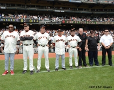 2002 team reunion, sf giants, san francisco giants, photo, 2012, Dusty Baker, Dave Righetti, Ron Wotus, Juan Lopez, Joe Lefebvre, Mike Murphy, Barney Nugent, Dave Groeschner