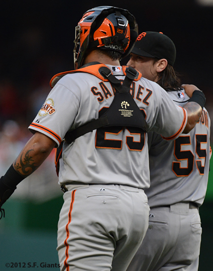 sf giants, san francisco giants, photo, 2012, tim lincecum, Hector sanchez