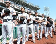 sf giants, san francisco giants, photo, 4th of july, july 4, 2012, national anthem, team