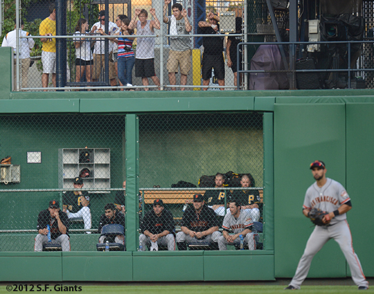 sf giants, san francisco giants, photo, 2012, bullpen, javier lopez, sergio romo, brad penny, clay hensley, george kontos