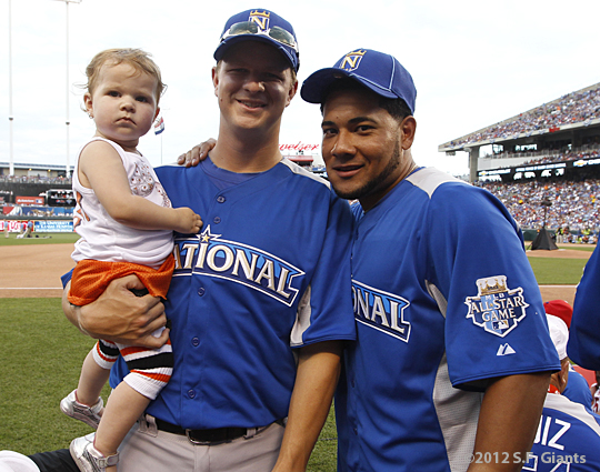 sf giants, san francisco giants, photo, 2012, all star game, july 10, matt cain, melky cabrera