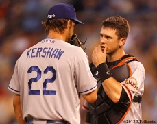 sf giants, san francisco giants, photo, 2012, all star game, july 10, buster posey, clayton kershaw