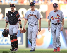 sf giants, san francisco giants, photo, 2012, all star game, july 10, buster posey, matt cain, dave duncan