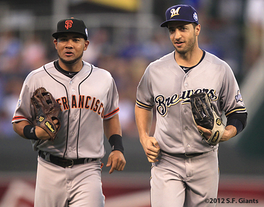 sf giants, san francisco giants, photo, 2012, all star game, july 10, melky cabrera, ryan braun