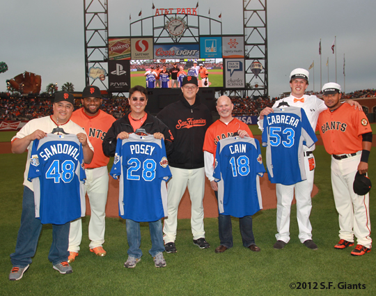 sf giants, san francisco giants, photo, 2012, all star game, july 10, fans, matt cain, melky cabrera, pablo sandoval