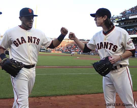 sf giants, san francisco giants, photo, 2012, tim lincecum, melky cabrera