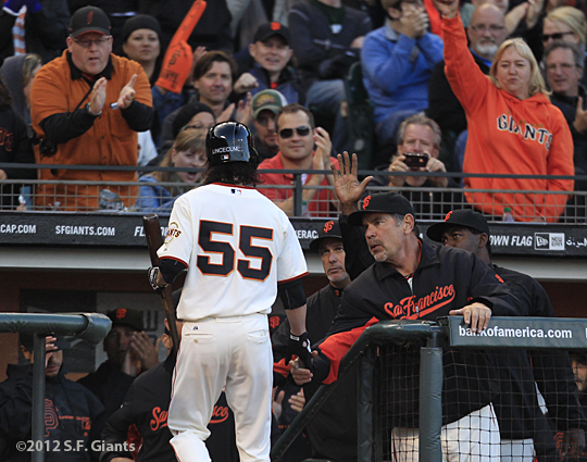 sf giants, san francisco giants, photo, 2012, fans, bruce bochy, tim lincecum