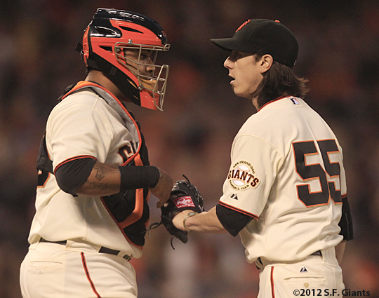 sf giants, san francisco giants, photo, 2012, hector sanchez, tim lincecum
