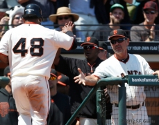 sf giants, san francisco giants, photo, 2012, pablo sandoval, bruce bochy