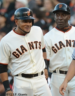 sf giants, san francisco giants, photo, 2012, melky cabrera, roberto kelly