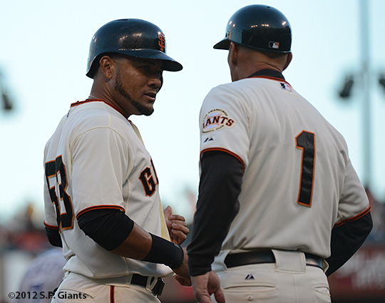 sf giants, san francisco giants, photo, 2012, melky cabrera, tim flannery
