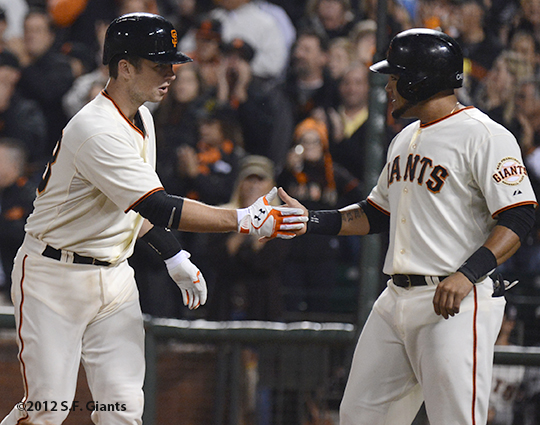 sf giants, san francisco giants, photo, 2012, buster posey, melky cabrera