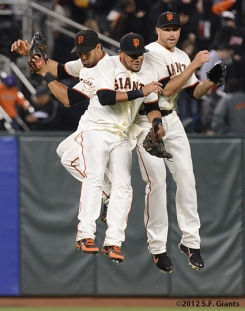 sf giants, san francisco giants, photo, 2012, team, nate schierholtz, angel pagan, melky cabrera