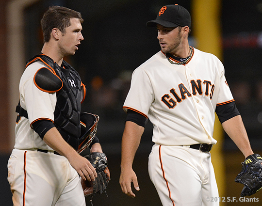 sf giants, san francisco giants, photo, 2012, george kontos, buster posey