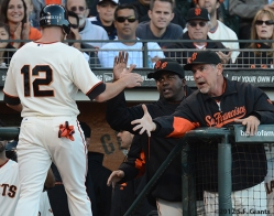 sf giants, san francisco giants, photo, 2012, nate schierholtz, bruce bochy