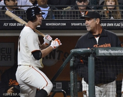 sf giants, san francisco giants, photo, 2012, brandon belt, bruce bochy