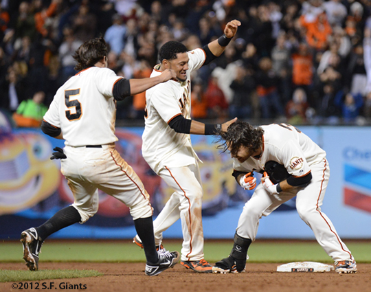 sf giants, san francisco giants, photo, 2012, brandon crawford, team, melky cabrera, ryan theriot