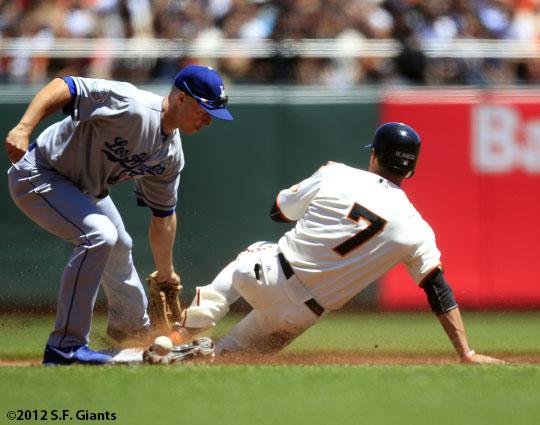 San Francisco Giants, S.F. Giants, photo, 2012, Gregor Blanco, Mark Ellis