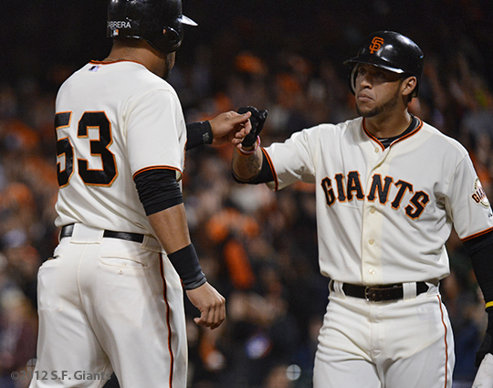 sf giants, san francisco giants, photo, 2012, gregor blanco, melky cabrera