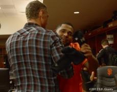 sf giants, san francisco giants, photo, 2012, hunter pence, pablo sandoval