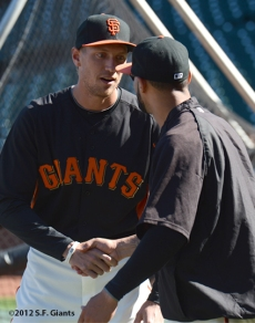 sf giants, san francisco giants, photo, 2012, hunter pence, justin christian