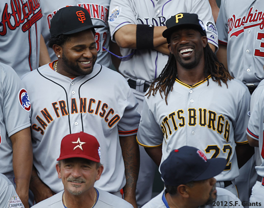 all star game, 2012, july 10, sf giants, san francisco giants, photo, pablo sandoval, andrew mccutchen
