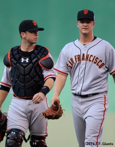all star game, 2012, july 10, sf giants, san francisco giants, photo, buster posey, matt cain