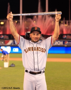 Melky Cabrera shows off his MVP Award