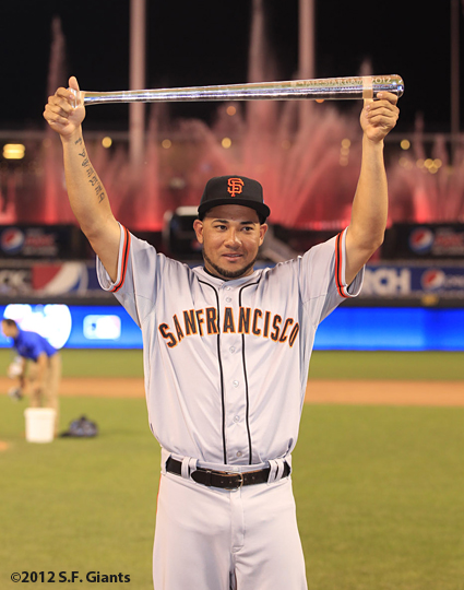all star game, 2012, july 10, sf giants, san francisco giants, photo, melky cabrera, Ted Williams MVP AWard