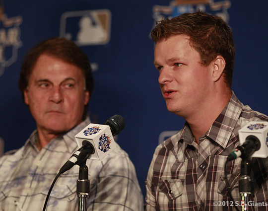 sf giants, san francisco giants, all star game, 2012, july 9, photo, matt cain, tony laruss
