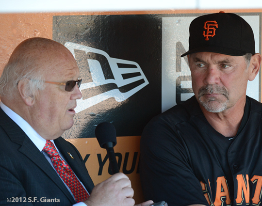 sf giants, san francisco giants, photo, 2012, jon miller, bruce bochy