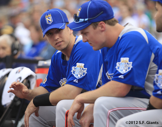 sf giants, san francisco giants, photo, 2012, all star game, july 9, home run derby, buster posey, jay bruce