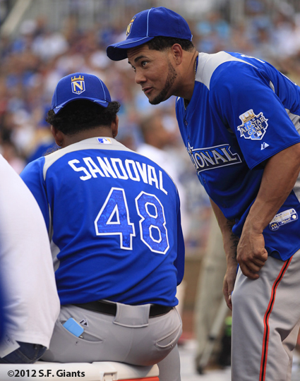 sf giants, san francisco giants, photo, 2012, all star game, july 9, home run derby, melky cabrera, pablo sandoval