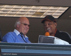 sf giants, san francisco giants, photo, 2012, jon miller, willie mays