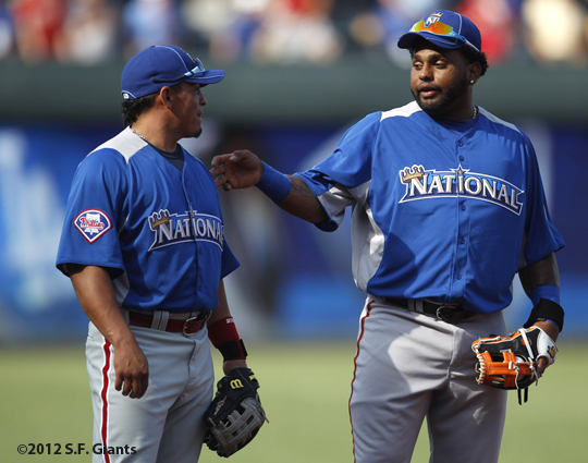 sf giants, san francisco giants, photo, 2012, all star game, july 9, work out, pablo sandoval, Carlos Ruiz
