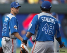 sf giants, san francisco giants, photo, 2012, all star game, july 9, work out, buster posey, pablo sandoval
