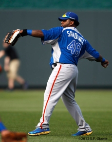 sf giants, san francisco giants, photo, 2012, all star game, july 9, work out, pablo Sandoval