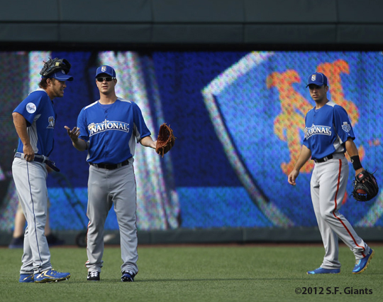 sf giants, san francisco giants, photo, 2012, all star game, july 9, work out, matt cain, buster posey, clayton kershaw